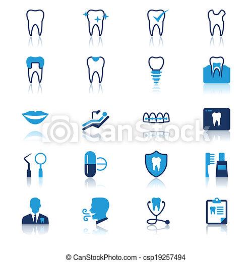 płaski, stomatologiczny, odbicie, ikony - csp19257494
