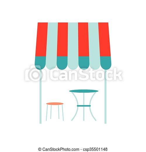 płaski, styl, francuski, ulica, ikona, kawiarnia - csp35501148