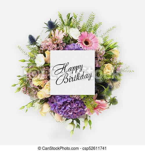 Płaski Urodziny Pieśń Kwiaty Karta Szczęśliwy Płaski Lay