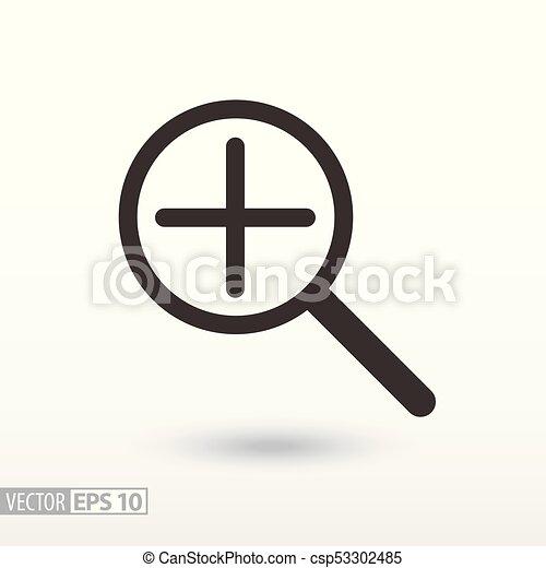 płaski, znak, szkło, szkło powiększające, icon., powiększający - csp53302485