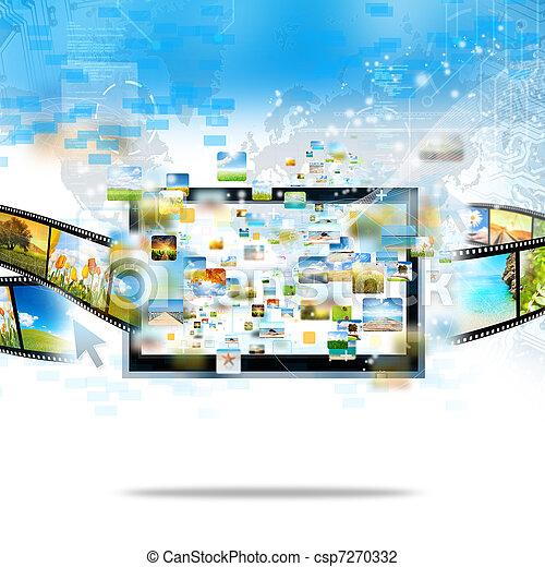 płynący, telewizja, nowoczesny - csp7270332