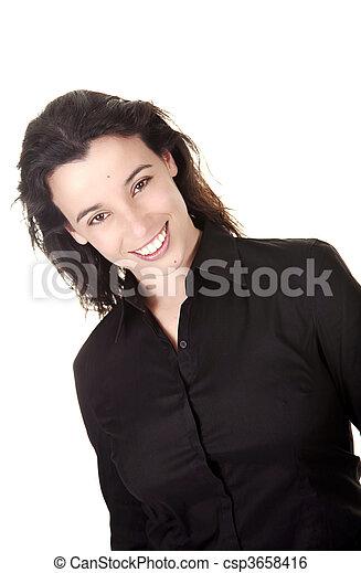 překrásný, úsměv eny - csp3658416
