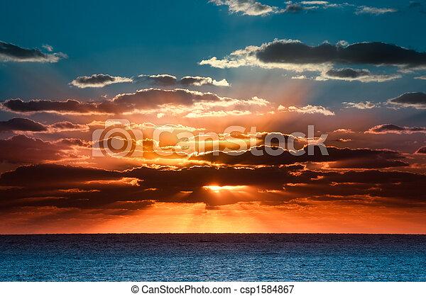 překrásný, východ slunce - csp1584867
