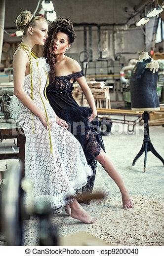 p., damer, stemningsfuld, stunning, to - csp9200040