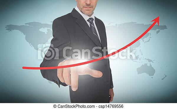 Hombre de negocios seleccionando una flecha roja - csp14769556