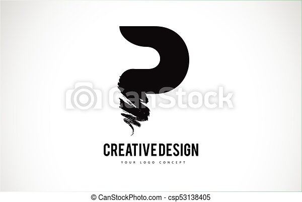 P Letter Logo Design Brush Paint Stroke Artistic Black Paintbrush