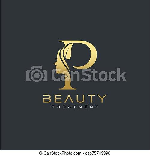 P Letter Luxury Beauty Face Logo Design Vector Letter Luxury Beauty Face Logo Design Vector