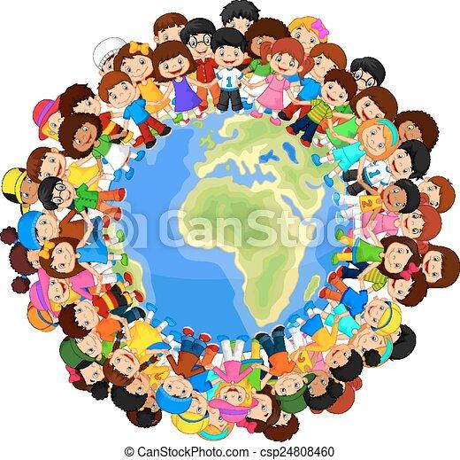 p , multicultural , παιδιά , γελοιογραφία  - csp24808460