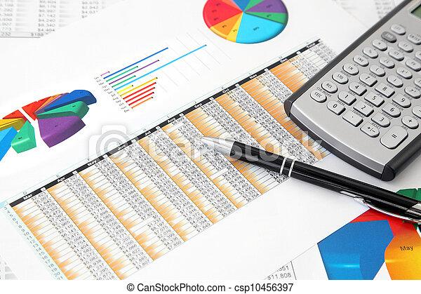 p, tabellen, investition, taschenrechner - csp10456397
