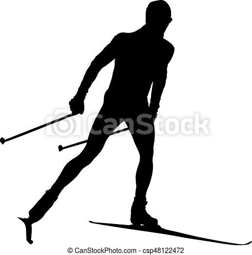 Atleta esquiador de campo - csp48122472