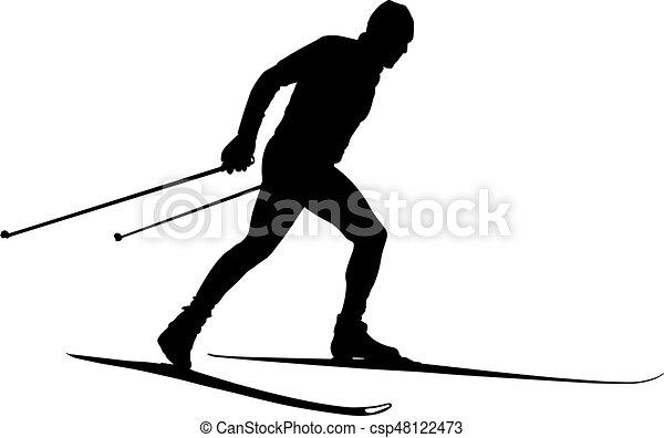 Atleta macho, esquiador de campo - csp48122473