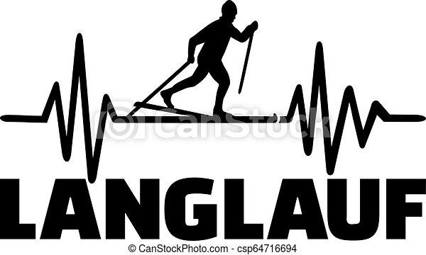 Cruce país esquiando pulso cardíaco - csp64716694