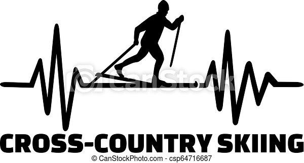 Cruzando el país esquiando la línea del corazón - csp64716687