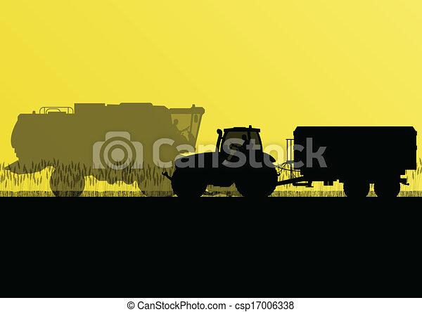 país, milho, ilustração, campo, vetorial, grão, trator, fundo, cultivado, agricultura, reboque, paisagem - csp17006338