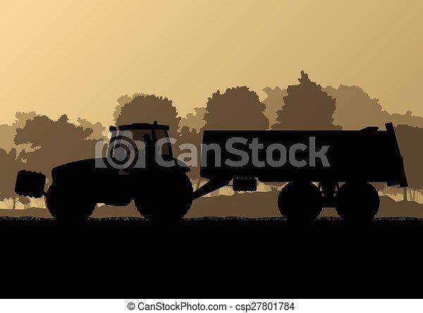 país, milho, ilustração, campo, vetorial, grão, trator, fundo, cultivado, agricultura, reboque, paisagem - csp27801784