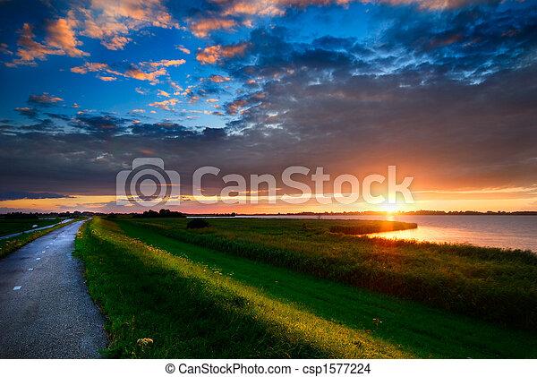país, pôr do sol, estrada - csp1577224