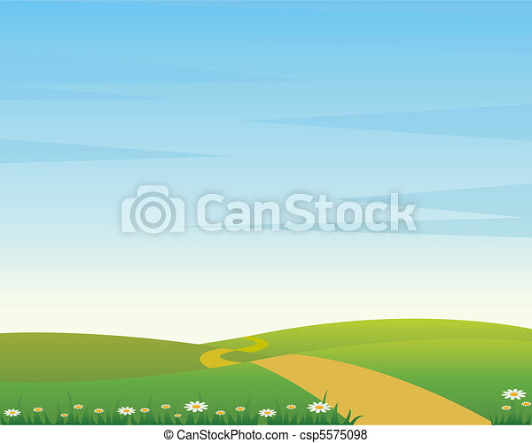 Un paisaje rural con carretera - csp5575098