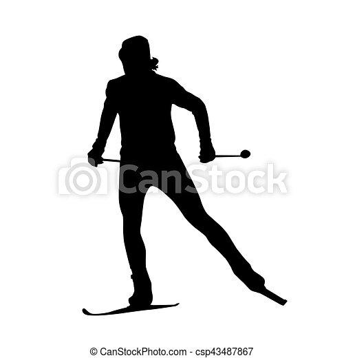 Silueta de vector de esquí en el país - csp43487867