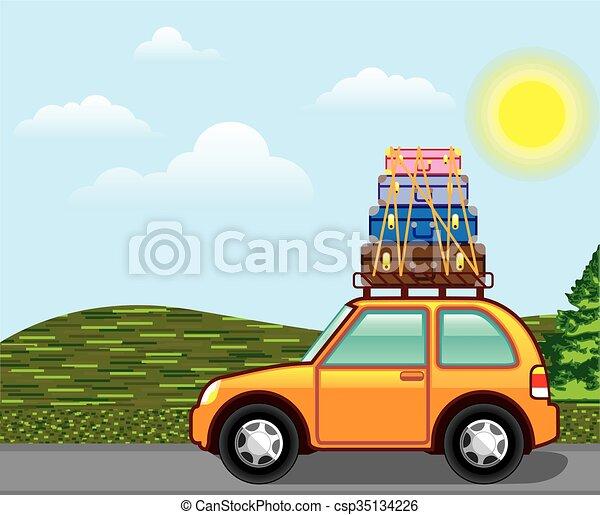 Vector de viaje hippie de campo cruzado - csp35134226