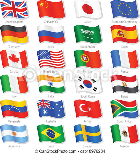 países, cima, vector, banderas, mundo, nacional - csp18976284