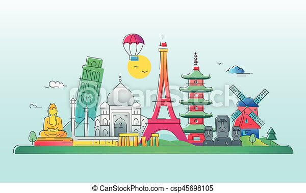 Países - línea de vectores ilustración de viajes - csp45698105