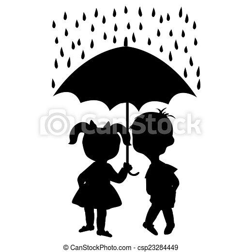 kinder unter einem regenschirm. | canstock