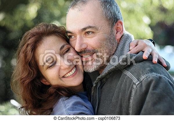 paar, draußen, glücklich - csp0106873