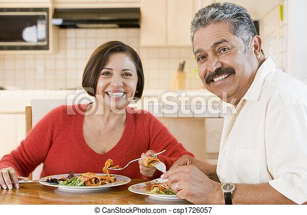 paar, genießen, mahlzeit, senioren, zusammen - csp1726057