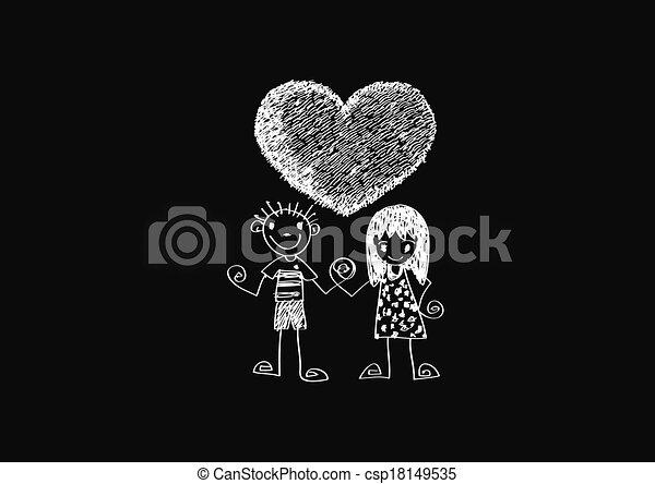 paar, hand, w, wedding, gezeichnet, karikatur - csp18149535