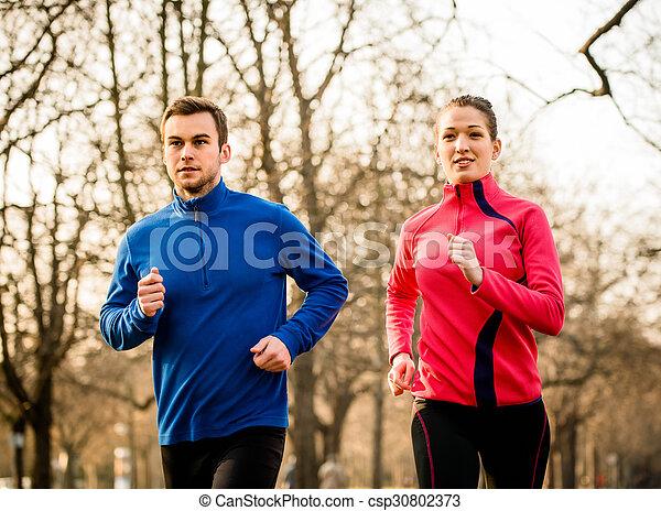 paar, jogging, zusammen - csp30802373