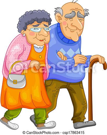 paar, oud, vrolijke  - csp17863415