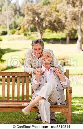 paar, park, bejaarden - csp5810814