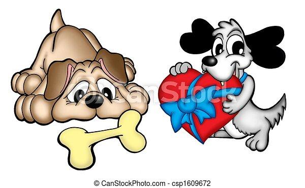 paar, schattig, honden - csp1609672