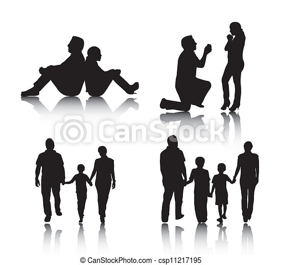 paar, silhouette, familie - csp11217195