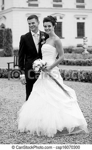 paar, verheiratet, junger, gerecht, glücklich - csp16070300