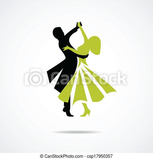 paar, witte , vrijstaand, achtergrond, dancing - csp17950357