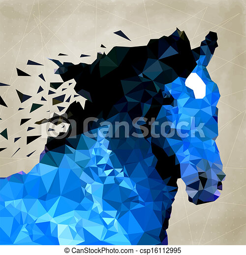 paarde, geometrisch, symbool, abstracte vorm - csp16112995