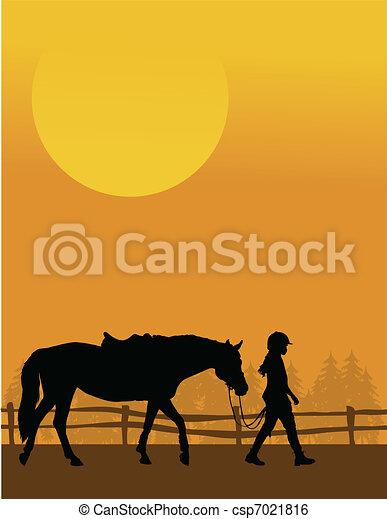 paarde, kind - csp7021816