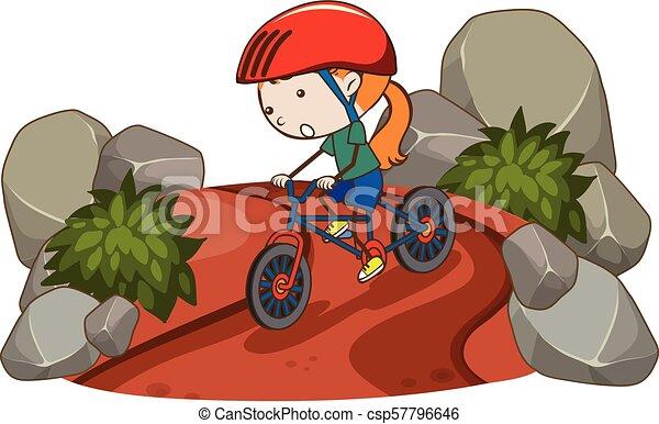paardrijden, meisje, fiets, berg - csp57796646