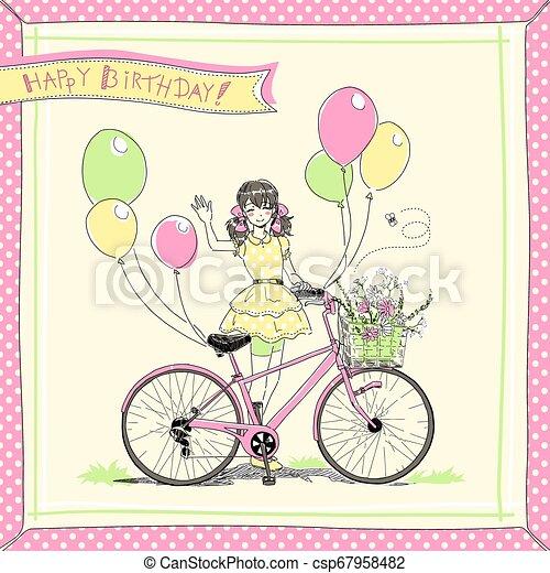 paardrijden, meisje, fiets, kaart - csp67958482
