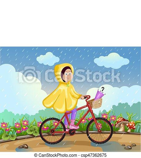 paardrijden, meisje, fiets, rain., onder - csp47362675