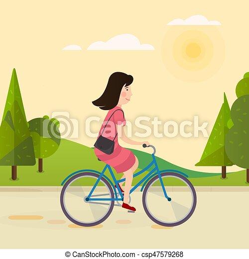 paardrijden, meisje, fiets, vrolijke  - csp47579268