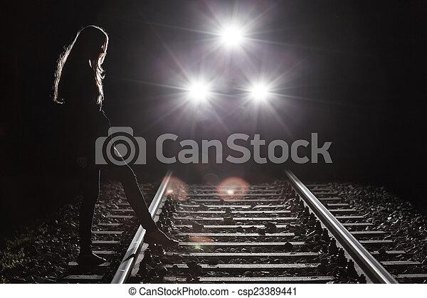 paardrijden, meisje, trein - csp23389441