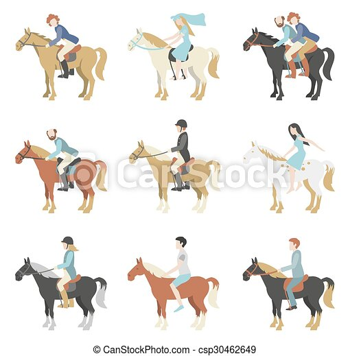 paardrijden, paarde, lessons. - csp30462649