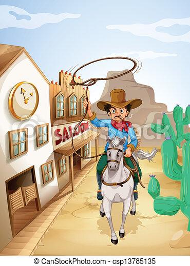 paardrijden, paarde, witte , tabak, man - csp13785135