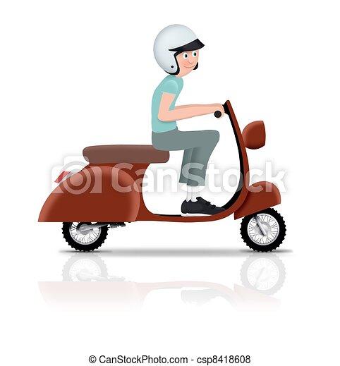 paardrijden, scooter - csp8418608