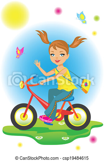 paardrijden, weinig; niet zo(veel), fiets, meisje, beauty - csp19484615