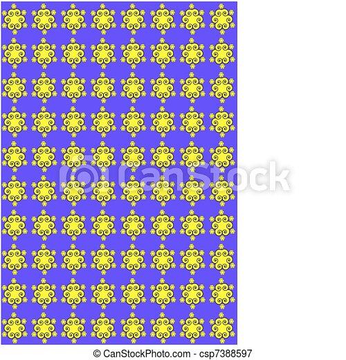 paarse , floral, gele, model - csp7388597