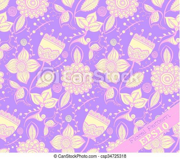 paarse , floral, het herhalen, pattern., gele - csp34725318