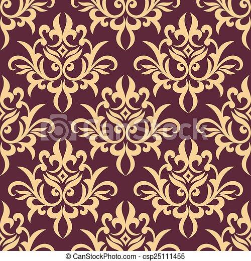 paarse , model, floral, seamless, gele - csp25111455